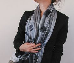 Hand painted silk scarf l hand painted silk scarf | handpainted | black and white | minimalist fashion | fashion accessories | light scarf | square scarf | abstract art | handmade