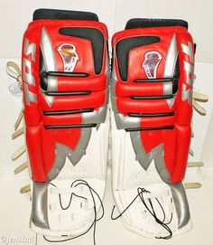 "TPS ICECAP LOUISVILLE 36"" GOALIE SR LEG PADS ICE HOCKEY GOAL GEAR WHT/RED 2003 #TPSLousiville"