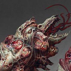 ArtStation - Acolyte of the Caul, mike franchina Monsters Rpg, Cool Monsters, Horror Monsters, Monster Concept Art, Fantasy Monster, Monster Art, Fantasy Kunst, Dark Fantasy Art, Creepy Art