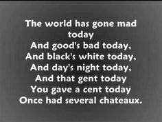 Anything Goes Cole Porter With lyrics wmv - YouTube -- Great Depression  (Le Chaim on the Right suggests looking up all the references.)