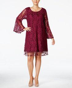 ING Plus Size Lace Fringe-Trim Dress | macys.com