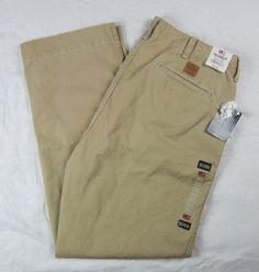 Ralph Lauren Polo Jeans Company Army Flat Front 36 X 32 Chino Khaki 68337 NEW #PoloRalphLauren #ClassicStraightLeg
