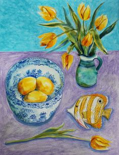 Little Yellow Fish, original watercolour painting by Francesca Whetnall on Etsy