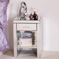 Venetian Mirrored 1 Drawer Nightstand. W 47cm x D 36cm x H 66cm. £139.99