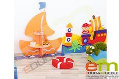 #Estanteria #Barco - Estantería complementaria para la fabulosa colección de #muebles decorativos Barco Pirata. Permite almacenar #juegos, libros y material didáctico en los estantes. Tienda Educamueble
