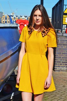 Yellow Leopard Collar Skater Style Dress