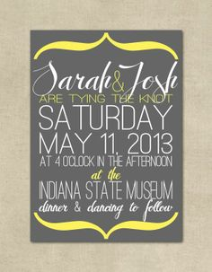 Wedding Invitation Modern Simple Grey Yellow by ThePaperFairie, $15.00 (Grey and salmon would be cute)