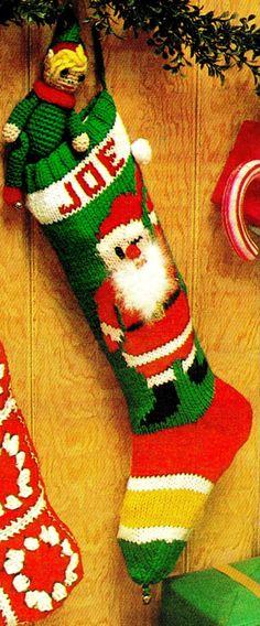 Knit+Christmas+JOLLY+SANTA+Stocking++PDF+Pattern+by+KinsieWoolShop,+$3.20