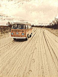 Sand Road Vintage Volkswagen Bus by hilda74