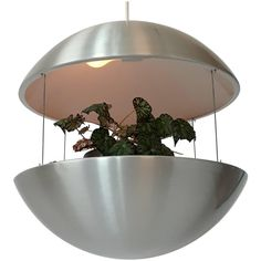 Aluminium Lighted Planter Pendant from Lyskaer, 1970s, Denmark | From a unique collection of antique and modern chandeliers and pendants at https://www.1stdibs.com/furniture/lighting/chandeliers-pendant-lights/