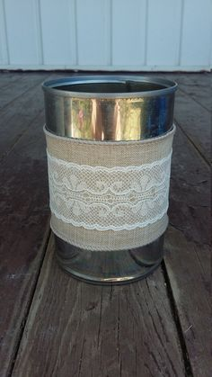 Linen and Lace Tin Can Centerpiece by ArtOfAlice on Etsy
