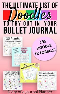 Get the ultimate bullet journal doodles bundle here, including 150  doodle tutorials on everything from plants to hygge themed doodles! #doodlebundle #howtodraw #bulletjournaldoodles #doodling #doodletutorial