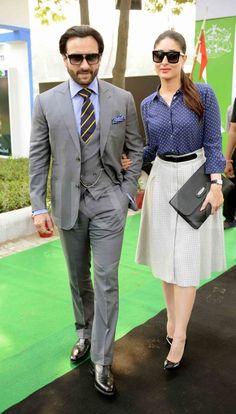 Bollywood outfits - Kareena Kapoor and Saif Ali Khan at Bhopal Pataudi Polo Cup 2014 Bollywood Outfits, Bollywood Couples, Bollywood Fashion, Bollywood Girls, Indian Celebrities, Bollywood Celebrities, Indian Designer Outfits, Indian Outfits, Indian Dresses