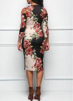 Flower Print Round Neck Cold Shoulder Dress | liligal.com - USD $33.00