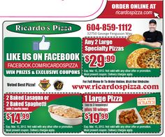 Ricardo's Pizza offers pizza delivery & pasta delivery in Abbotsford, Chilliwack, Langley & Mission. We serve fresh pasta & pizza. Call or order your pizza online today. Order Pizza Online, Small Pizza, Pizza Special, Coupons, Ads, Food, February, Amazing, Pizza