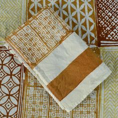 Hand-printed linen napkins in mustard inspired by the stunning tiles of Italy. Soft linen, spun on shuttle looms, woven into stunning napkins printed using natural dyes and carved wooden blocks. All carefully hand-stitched.