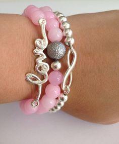 Pink Jade Beaded Bracelet Set