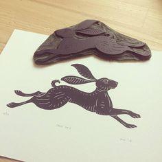 Hare Linocut Print by Inkshed Press - make flora and fauna blocks for linen curtains Rabbit Tattoos, Linoprint, Rabbit Art, Animal Silhouette, Bunny Art, Linocut Prints, Woodblock Print, Printmaking, Screen Printing