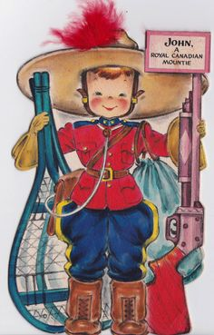 COLLECTABLE Vintage 1940s Unused Hallmark The Land of Make Believe John A Royal Canadian Mountie No: 22 Doll Greetings Card (B10)