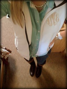 monogrammed vest and whole look