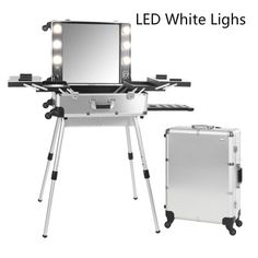 6 types Makeup Artist Train Box with Lights Station Trolley Studio Wheeled Case…