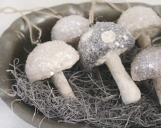 "Here's a great way of making whimsical antique-style spun cotton mushrooms with loops for hanging up as ornaments. These would look adorable on a woodland Christmas tree, and make super unique gifts. This hand-building technique takes some practice.  The first few mushrooms are bound to look very ""organic,"" but I think the individuality of each piece is something to be celebrated.  You can make them look very natural, or very fantastical in their shapes and colors.  The materia..."