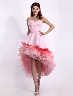 Glamour Pink Sweetheart Asymmetrical Hemline Tiered A-line Prom Dress