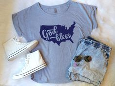 God Bless, God Bless America, Fourth of July Shirt, Women's 4th of July shirts, Merica Shirt, Patriotic Shirt by 1OneCraftyMomma on Etsy