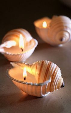 Amazing DIY Votive Candle Holder Ideas - For Creative Juice - DIY Sea Shell Candles. Seashells are enjoyable to collect and pick up at the beach. If you collect - Diy Candles Scented, Homemade Candles, Seashell Candles, Seashell Crafts, Beach Crafts, Summer Crafts, Fall Crafts, Votive Candle Holders, Votive Candles