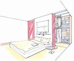 Schrankraum hinter dem Bett Achei simplesmente fantástica esta ideia para quartos com pouco espaço e onde os moradores não querem ficará na cama olhando as portas dos armários...