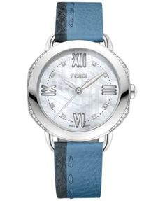 Fendi Timepieces Women's Swiss Selleria Diamond (1/4 ct. t.w.) Gray & Blue Leather Strap Watch 36mm F8050345A3C1