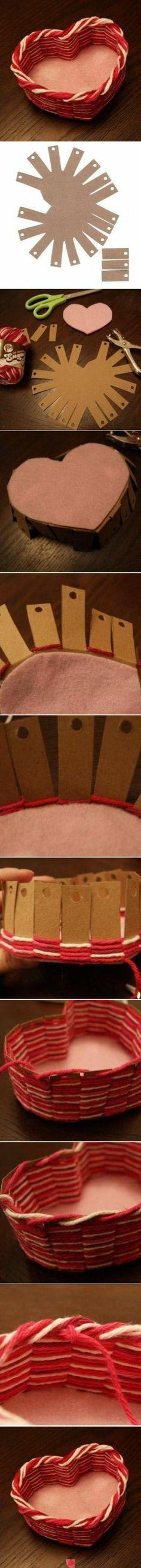 how to make a cute heart shaped basket