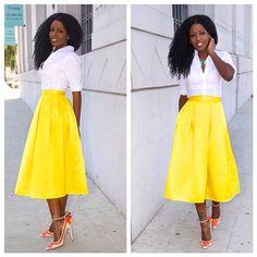 White Button-Up + Yellow Box Pleat Midi Skirt convention inspiration