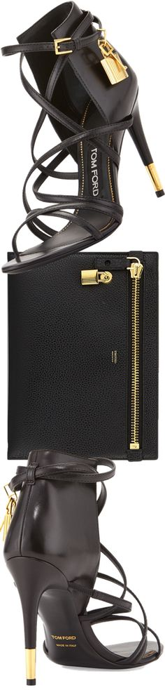 TOM FORD Leather Ankle-Wrap Padlock Sandal, Black and TOM FORD Large Calfskin Zip Clutch Bag, Black