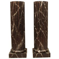 Pair of Monumental Faux Marble Painted Black Cement Columns / Pedestals For Sale at 1stDibs Fluted Columns, Marble Columns, Marble Pillar, Marble Painting, Black Cement, Architectural Elements, Wood Colors, Pedestal, Things To Sell