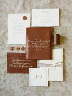 Jose Villa's wedding invitation suite. love the masculine leather accents.