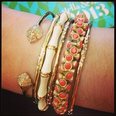 A touch of coral. Bracelets by Stella & Dot. www.stelladot.com/cecille