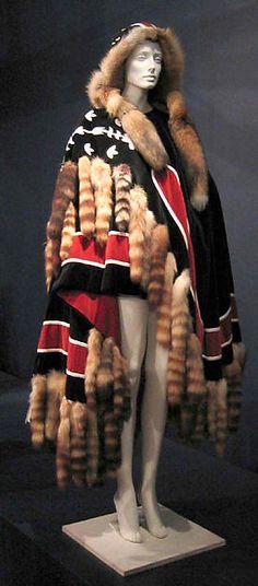 Cotton cape with fur trim, by Giorgio di Sant'Angelo, American, fall/winter 1970-71.