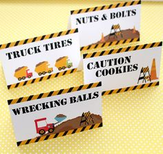 Construction Birthday Party  Set of 8 Food Label by FarmerDesign, $12.00