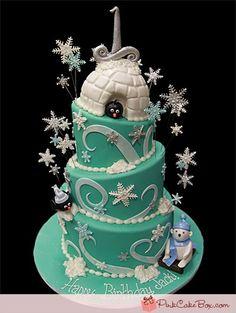 Winter Wonderland First Birthday Cake - Click image to find more Food & Drink Pinterest pins