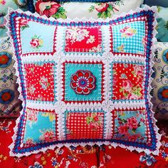 Crochet edged patchwork All Mixed Up cushion with fabric and yarn- new trend in crochet