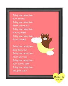 Printable JPG Teddy Bear Nursery Rhyme Print No by NRCDesignStudio ((NO LONGER AVAILABLE)) Teddy Bear Poem, Teddy Bears, Nursery Rhymes Poems, Nursery Themes, Teddy Bear Nursery, Bear Songs, English Rhymes, Picture Dictionary, Bear Theme