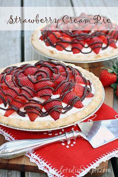 Strawberry Cream Pie with Chocolate Drizzle