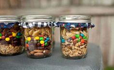 Trail Mix is a great glamping snack when put in cute mason jars like this #glamping #wedding