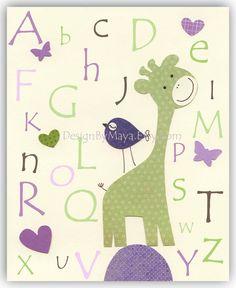 Nursery wall art, Baby girl Room Decor, birds..Violet Green ABC. $17.00, via Etsy.