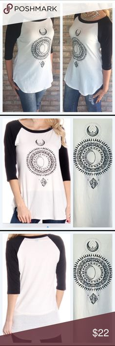 ⚡️1 HR SALE⚡️Casual Day Celestial Baseball Tee Celestial super soft baseball tee. Here's your new favorite casual day year 'round  long tee. Flattering tapered girl fit with 3/4 sleeves. Slightly longer in back. Great with leggings or denim-very versatile. Black & Ivory 84% Poly - 12% Rayon - 4% Spandex - New from manufacturer without tags.  Small 34B 24L Medium 36B 25L Large 38B 25L Boutique Tops Tees - Long Sleeve