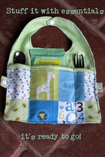 : Fold n Go Travel Bib tutorial Baby Sewing Projects, Sewing For Kids, Sewing Ideas, Bib Tutorial, Baby Gifts To Make, Easy Baby Blanket, Bib Pattern, Baby Crafts, Learn To Sew