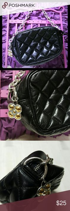 "Brighton quilted leather clutch/mini bag Very cute but edgy, teeny bag. Great for a night out in town...fits basic essentials. Has a very soft micro fiber raspberry colored lining. No pockets but has 2 credit card slots. Body of bag is in great shape but chain strap is pitted/discolored in several places but not that noticeable due to color.  2 tone flower fob is also pitted but still sparkles. See all pics. 5.5"" by 4.25"" by 2.5"" with 5"" strap drop. Price reflects flaws Brighton Bags Mini…"