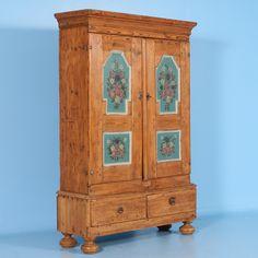 Antique Pine Armoire with Original Painted Panels, circa 1800-1840   Scandinavian Antiques & More