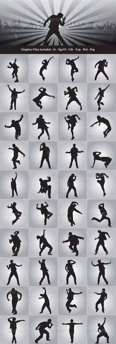 Hip Hop Dancer Silhouettes #graphicriver
